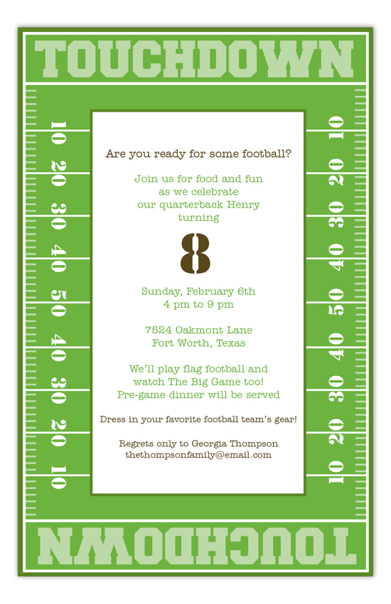 Touchdown Time Invitation