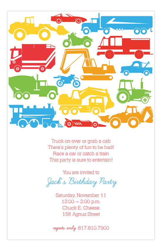 Transport Silhouettes Invitation