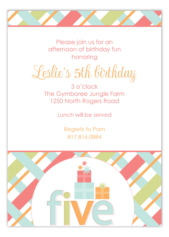 Turning Five Invitation