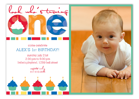 Turning One Primary Colors Photo Card Polka Dot Invitations