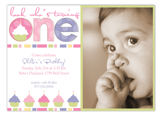 Turning One Soft Pastels Photo Card