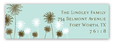 Turquoise Flowers Address Label