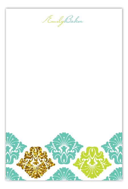 Turquoise Glitter Damask Flat Note Card