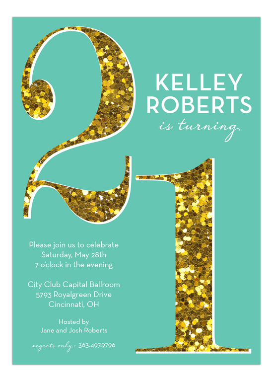 Turquoise Glitter Twenty-One Invitation