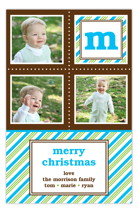 Turquoise Peppermint Stripe Initial Photo Card