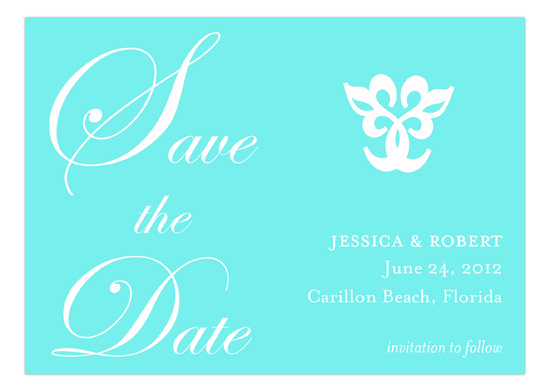 Turquoise Save the Date Invitation