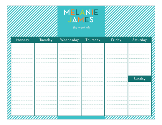 Turquoise Stripes Calendar Pad