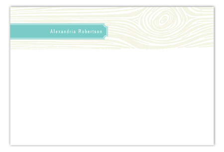Turquoise Woodgrain Flat Note Card