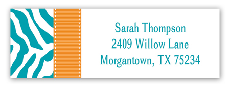Turquoise Zebra Address Label
