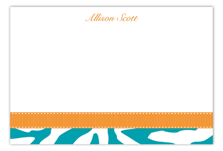 Turquoise Zebra Flat Note Card