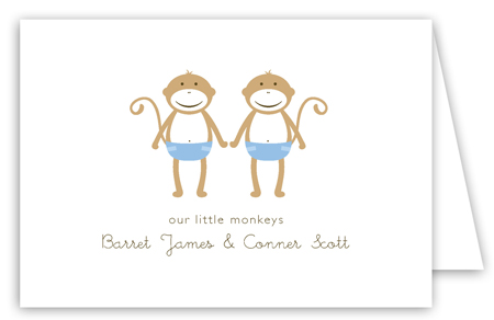 Twin Boy Monkey Pals Folded Note Card