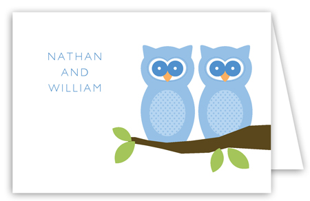 Twin Boy Perched Owls Folded Note Card