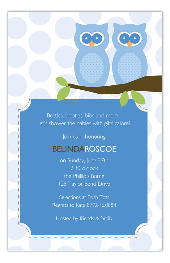 Twin Boy Perched Owls Invitation