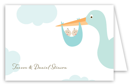 Twin Boy Stork in the Sky Folded Note Card