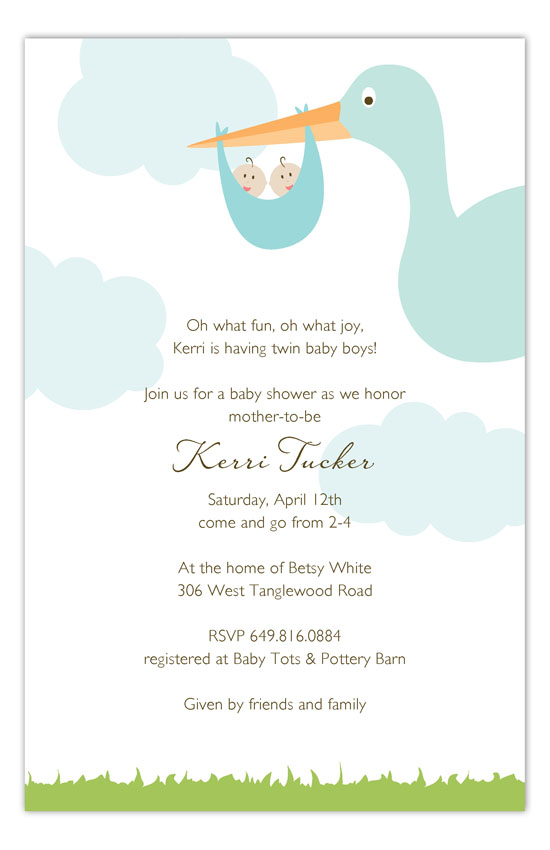 Twin Boy Stork in the Sky Invitation