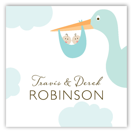 Twin Boy Stork in the Sky Square Sticker