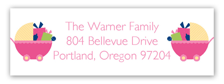 Twin Girl Carriage Gifts Address Label