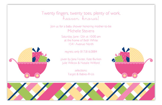 Twin Girl Carriage Gifts Invitation
