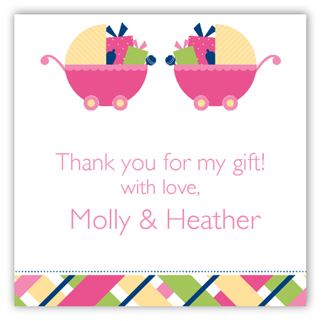 Twin Girl Carriage Gifts Square Sticker