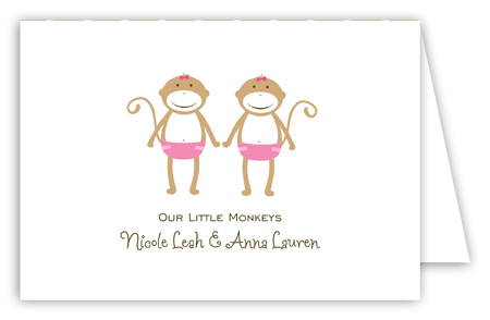 Twin Girl Monkey Pals Folded Note Card