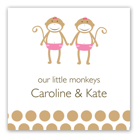 Twin Girl Monkey Pals Square Sticker