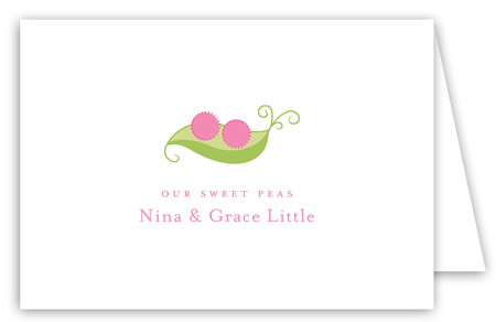 Twin Girl Peapod Folded Note Card