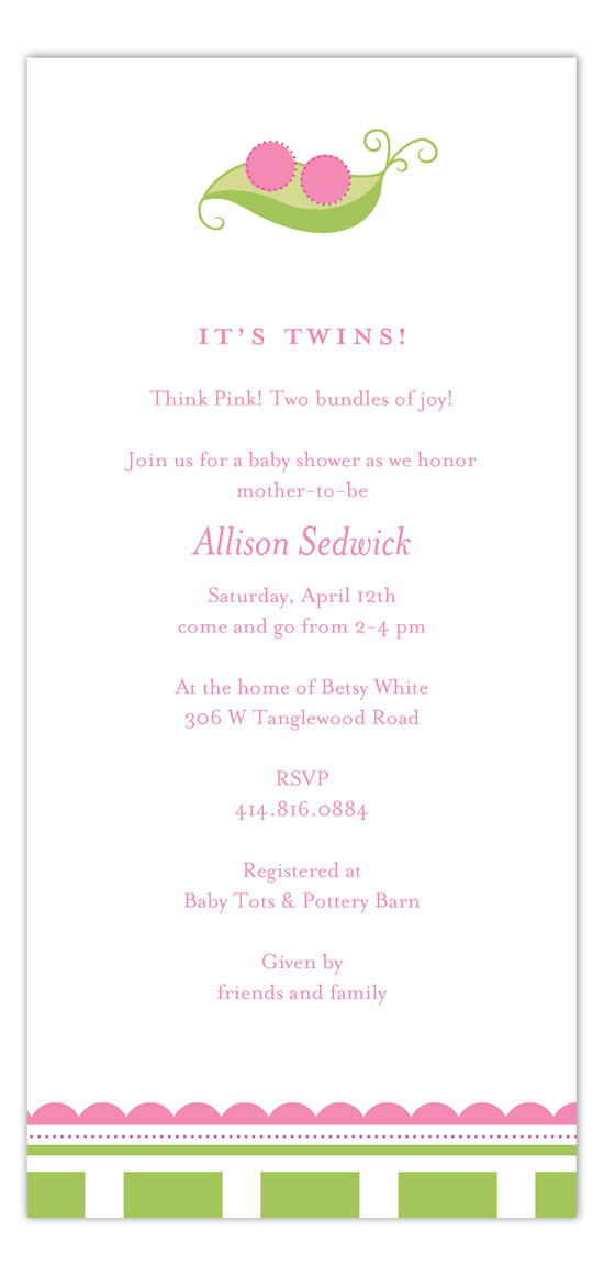 Twin Girl Peapod Invitation