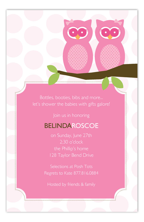Twin Girl Perched Owls Invitation