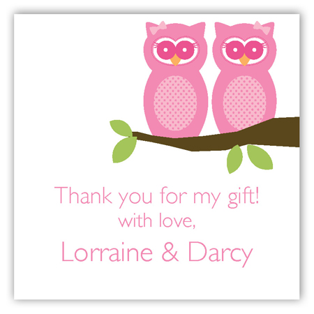 Twin Girl Perched Owls Square Sticker