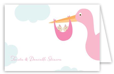 Twin Girl Stork in the Sky Folded Note Card