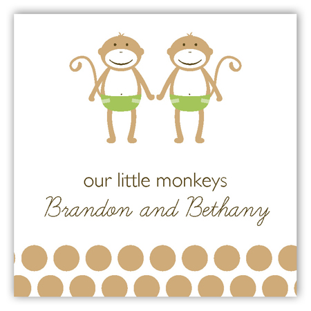 Twin Green Monkey Pals Square Sticker
