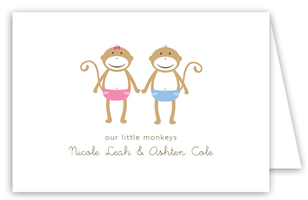 Twin Monkey Pals Folded Note Card