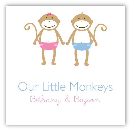 Twin Monkey Pals Gift Tag