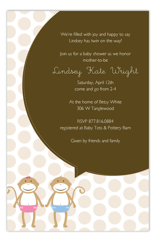 Twin Monkey Pals Invitation