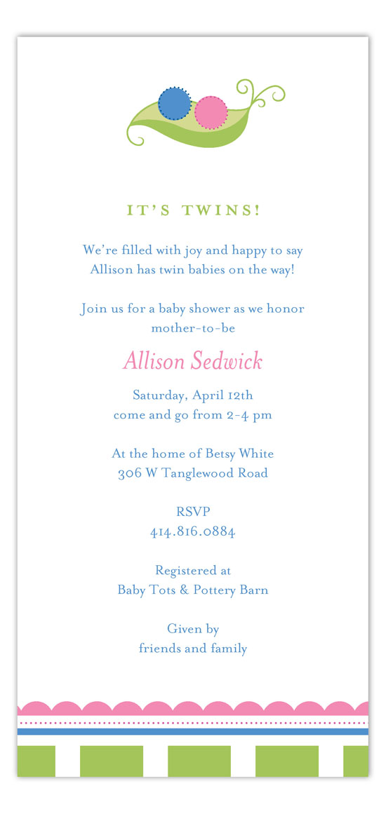 Twin Peapod Invitation