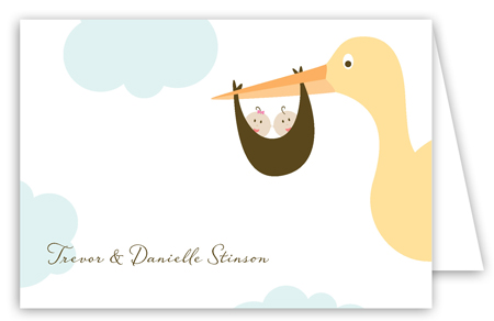 Twin Stork in the Sky Folded Note Card