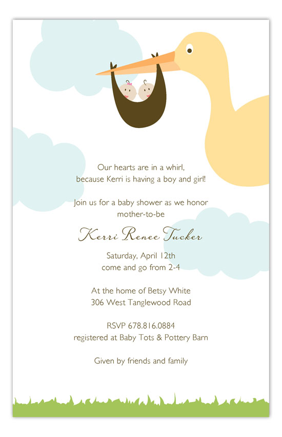 Twin Stork in the Sky Invitation