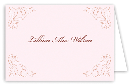 Victorian Corners Pink Note Card
