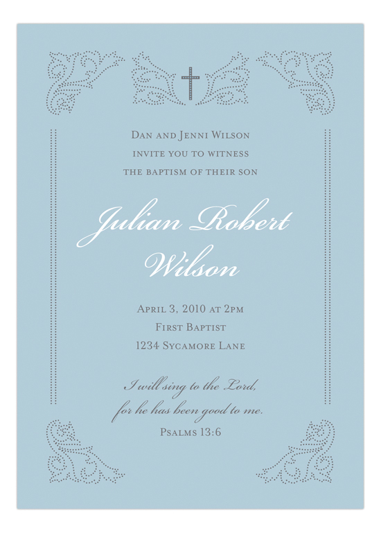 Victorian Cross Blue Invitation