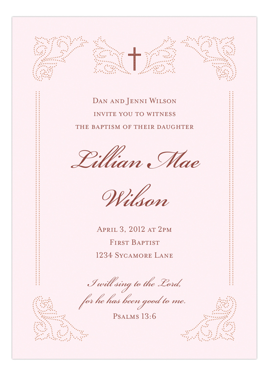 Victorian Cross Pink Invitation