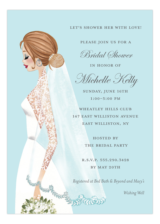 Vintage Veil Brunette Invitation
