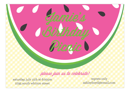 Summer Watermelon Picnic Invitation