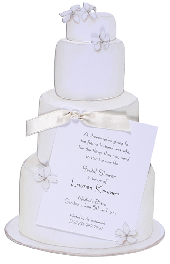 Wedding Cake Invitation with Cream Ribbon