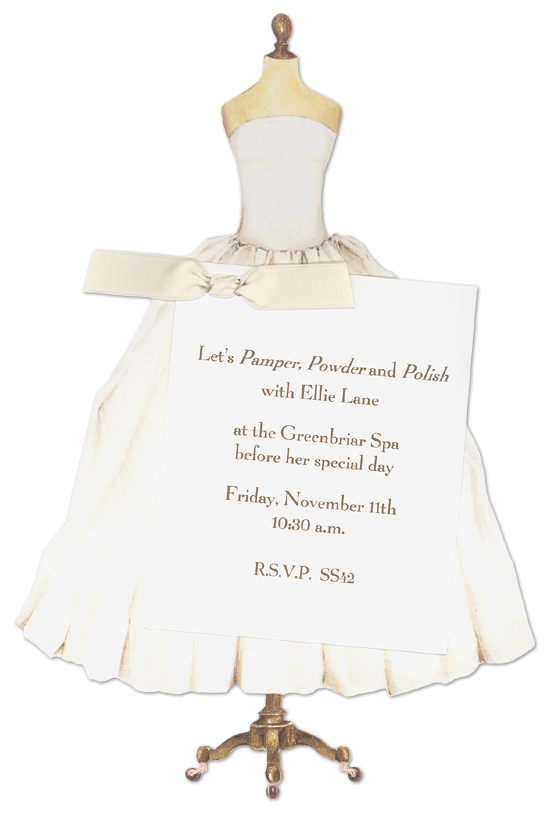 Sarah LeClere Wedding Dress Bridal Shower Invitation Bridal Shower Invitations