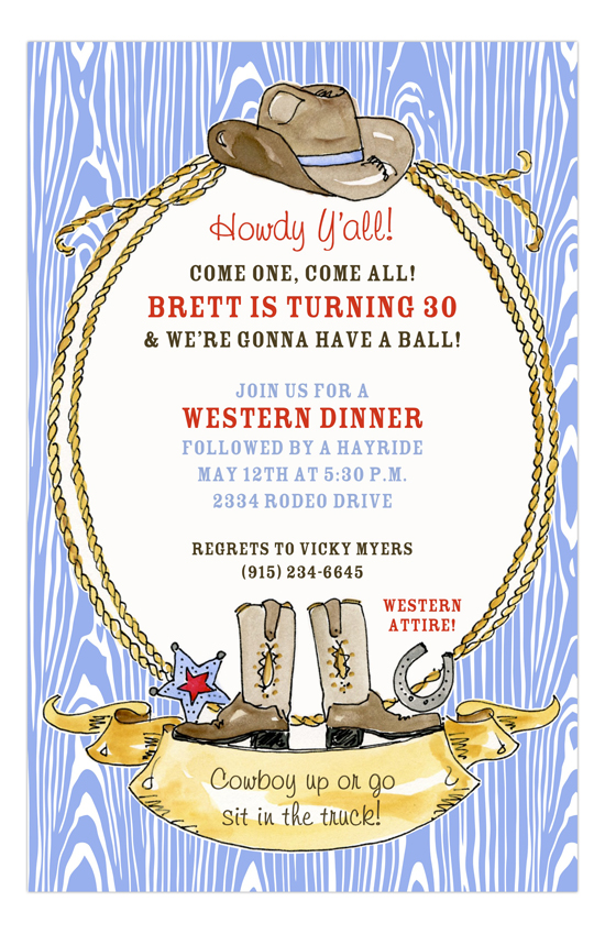 Lasso Western Birthday Party Invitations