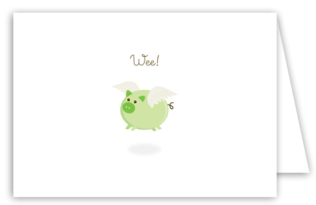 When Green Pigs Fly Note Card
