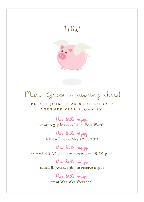 When Pink Pigs Fly Invitation