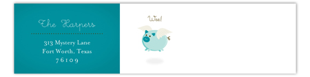When Teal Pigs Fly Envelope Wrap Address Label