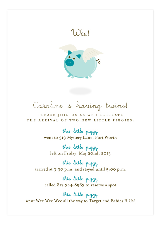 When Teal Pigs Fly Invitation