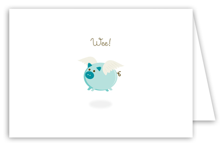 When Teal Pigs Fly Note Card